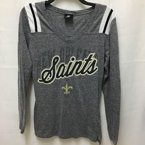 NFL Gear Saints Long Sleeve Vee Neck Shirt, S